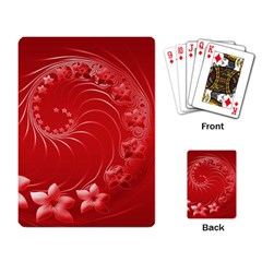 Red Abstract Flowers Playing Cards Single Design