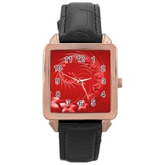 Red Abstract Flowers Rose Gold Leather Watch