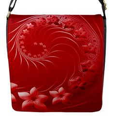 Red Abstract Flowers Flap closure messenger bag (Small)