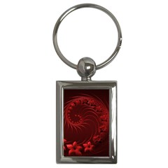 Dark Red Abstract Flowers Key Chain (Rectangle)