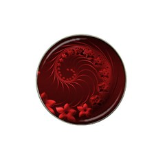 Dark Red Abstract Flowers Golf Ball Marker (for Hat Clip)