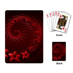 Dark Red Abstract Flowers Playing Cards Single Design