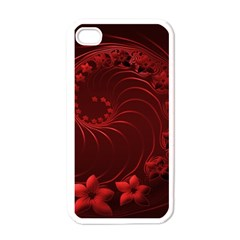 Dark Red Abstract Flowers Apple Iphone 4 Case (white)