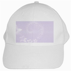 Pastel Violet Abstract Flowers White Baseball Cap