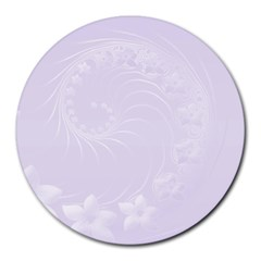 Pastel Violet Abstract Flowers 8  Mouse Pad (Round)