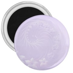 Pastel Violet Abstract Flowers 3  Button Magnet