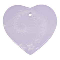 Pastel Violet Abstract Flowers Heart Ornament