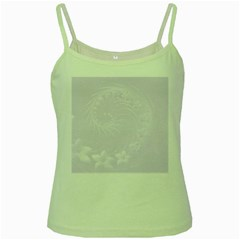 Pastel Violet Abstract Flowers Green Spaghetti Tank