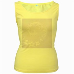 Pastel Violet Abstract Flowers Womens  Tank Top (yellow)