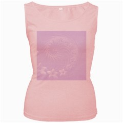 Pastel Violet Abstract Flowers Womens  Tank Top (Pink)