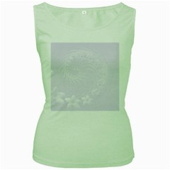 Pastel Violet Abstract Flowers Womens  Tank Top (Green)