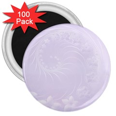 Pastel Violet Abstract Flowers 3  Button Magnet (100 pack)