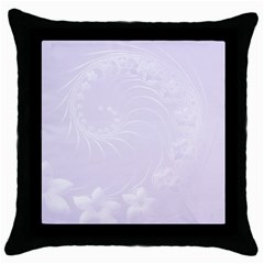 Pastel Violet Abstract Flowers Black Throw Pillow Case