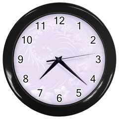 Pastel Violet Abstract Flowers Wall Clock (Black)