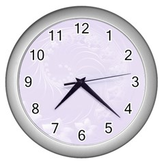 Pastel Violet Abstract Flowers Wall Clock (Silver)
