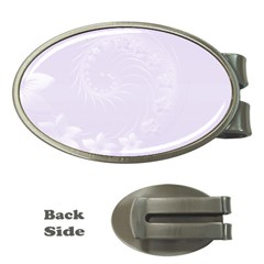 Pastel Violet Abstract Flowers Money Clip (oval)