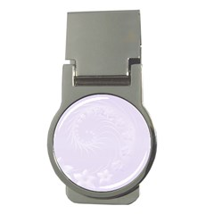 Pastel Violet Abstract Flowers Money Clip (Round)