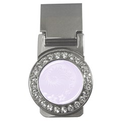 Pastel Violet Abstract Flowers Money Clip (CZ)