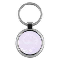 Pastel Violet Abstract Flowers Key Chain (round)