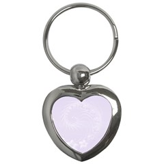 Pastel Violet Abstract Flowers Key Chain (Heart)