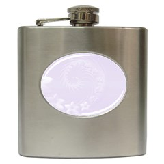 Pastel Violet Abstract Flowers Hip Flask