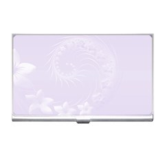 Pastel Violet Abstract Flowers Business Card Holder