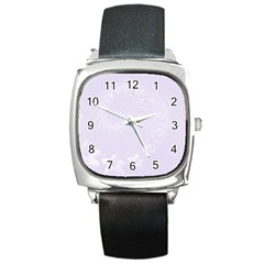Pastel Violet Abstract Flowers Square Leather Watch