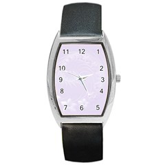Pastel Violet Abstract Flowers Tonneau Leather Watch