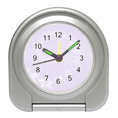 Pastel Violet Abstract Flowers Desk Alarm Clock