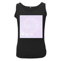 Pastel Violet Abstract Flowers Womens  Tank Top (black)