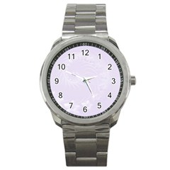 Pastel Violet Abstract Flowers Sport Metal Watch