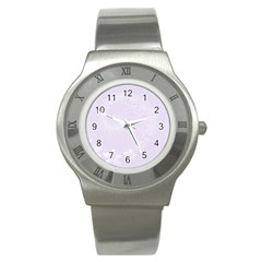 Pastel Violet Abstract Flowers Stainless Steel Watch (unisex)