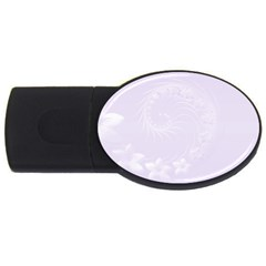 Pastel Violet Abstract Flowers 4GB USB Flash Drive (Oval)