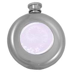 Pastel Violet Abstract Flowers Hip Flask (Round)