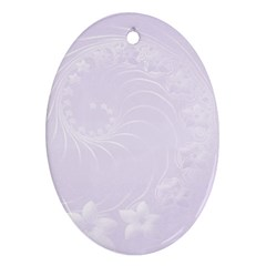 Pastel Violet Abstract Flowers Oval Ornament (Two Sides)
