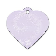 Pastel Violet Abstract Flowers Dog Tag Heart (One Sided)