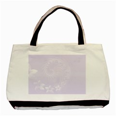 Pastel Violet Abstract Flowers Twin-sided Black Tote Bag