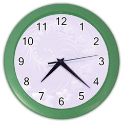 Pastel Violet Abstract Flowers Wall Clock (color)