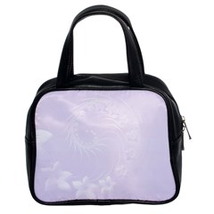 Pastel Violet Abstract Flowers Classic Handbag (two Sides)