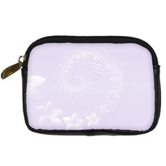 Pastel Violet Abstract Flowers Digital Camera Leather Case