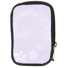 Pastel Violet Abstract Flowers Compact Camera Leather Case