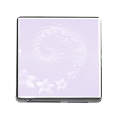 Pastel Violet Abstract Flowers Memory Card Reader with Storage (Square)