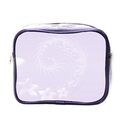 Pastel Violet Abstract Flowers Mini Travel Toiletry Bag (one Side)
