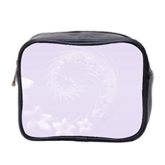 Pastel Violet Abstract Flowers Mini Travel Toiletry Bag (Two Sides)