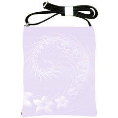 Pastel Violet Abstract Flowers Shoulder Sling Bag