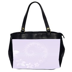 Pastel Violet Abstract Flowers Oversize Office Handbag (Two Sides)