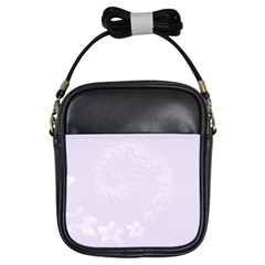 Pastel Violet Abstract Flowers Girl s Sling Bag