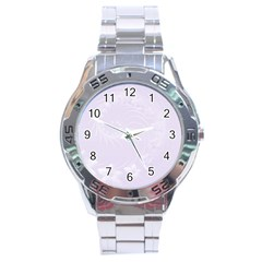 Pastel Violet Abstract Flowers Stainless Steel Watch (Men s)