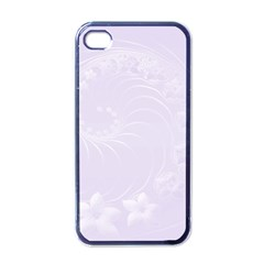 Pastel Violet Abstract Flowers Apple iPhone 4 Case (Black)