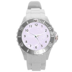 Pastel Violet Abstract Flowers Plastic Sport Watch (large)
